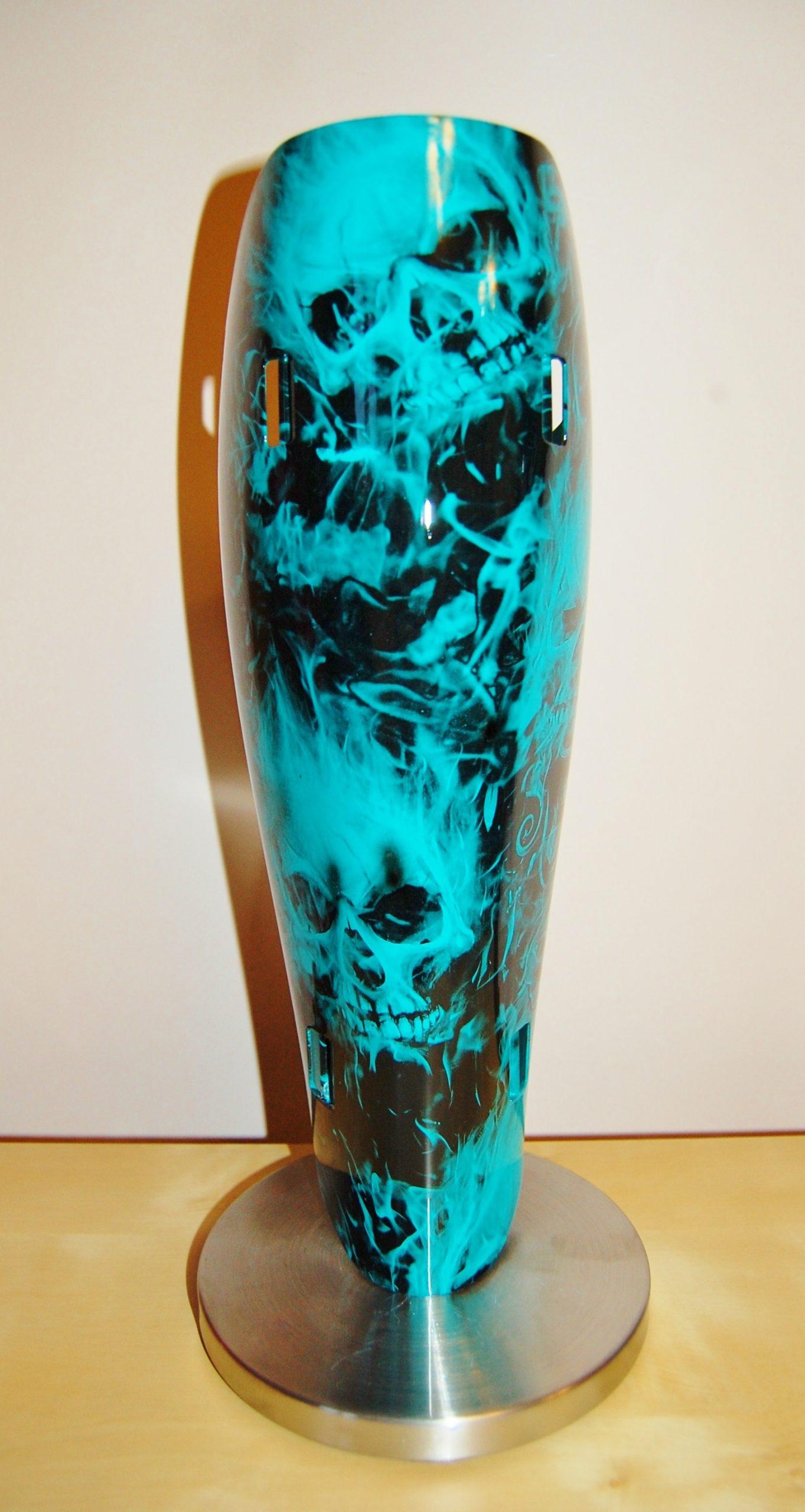 Core Custom Limb-art Teal Painted and Skull Flames Hydrodip