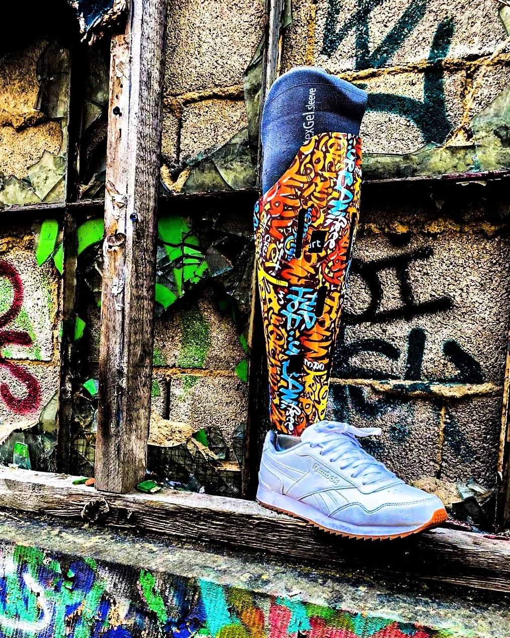 LIMB-art prosthetic leg cover graffiti hydrodip